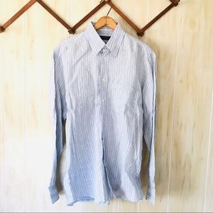 Canali Linen Flax Italy Made Striped Button Down